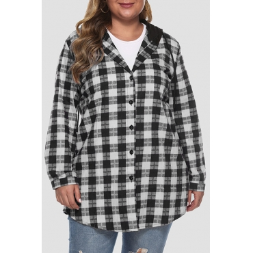 Lovely Casual Hooded Collar Plaid Printed Black Plus Size Coat