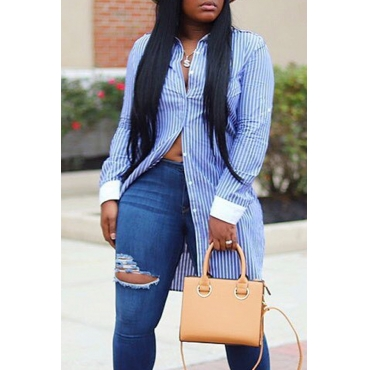 Lovely Work Striped Blue Blouse