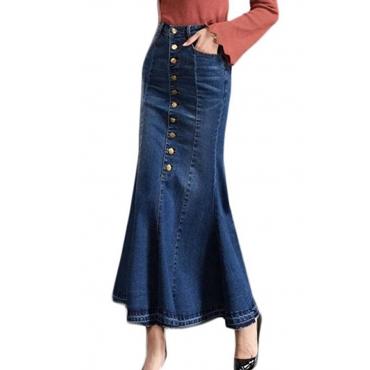 Lovely Trendy Buttons Design Blue Ankle Length Skirt