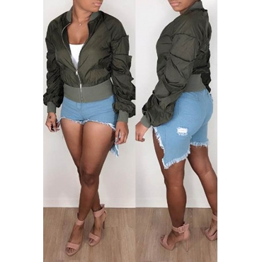 Lovely Casual Patchwork Army Green Jacket