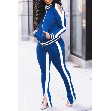 Lovely Casual Patchwork Blackish Blue Two-piece Pants Set