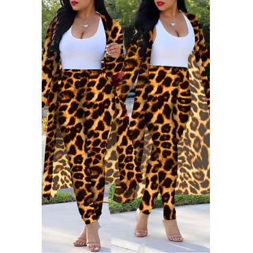 Lovely Casual Leopard Printed Yellow Plus Size Two-piece Pants Set(Without Tank Top)