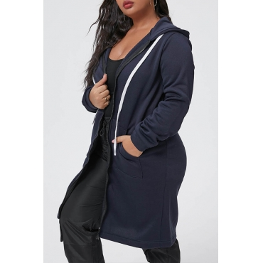 Lovely Casual Hooded Collar Dark Blue Plus Size Coat