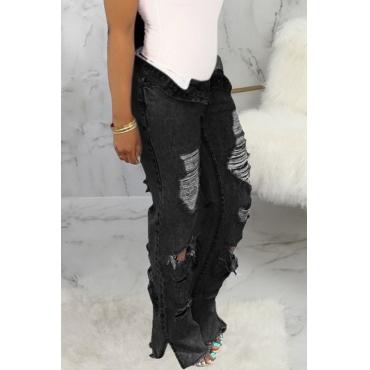 Lovely Casual Broken Holes Black Jeans