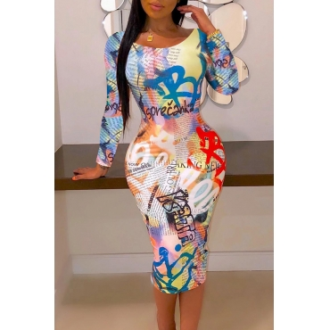 Lovely Casual Letter Printed Multicolor Knee Length Dress