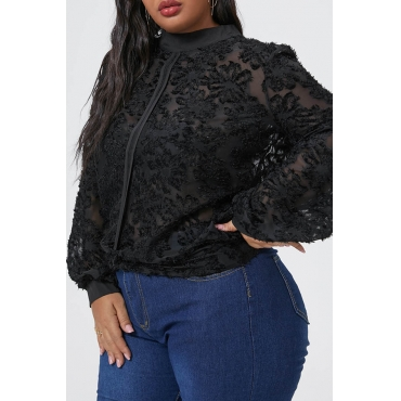 Lovely Casual Half A Turtleneck Hollow-out Black Plus Size Blouse