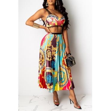 Lovely Trendy Ruffle Design Multicolor Two-piece Skirt Set