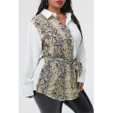 Lovely Casual Patchwork White Plus Size Blouse