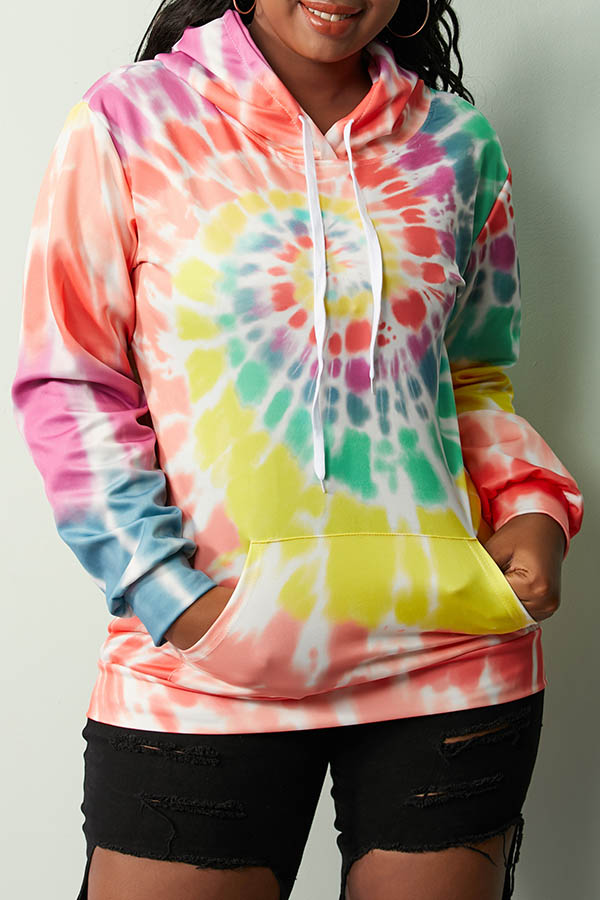 Lovely Casual Hooded Collar Tie-dye Yellow Hoodie(With Elastic)