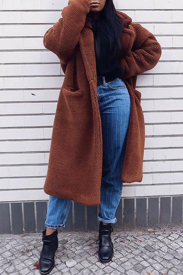Lovely Trendy Long Brown Teddy Coat
