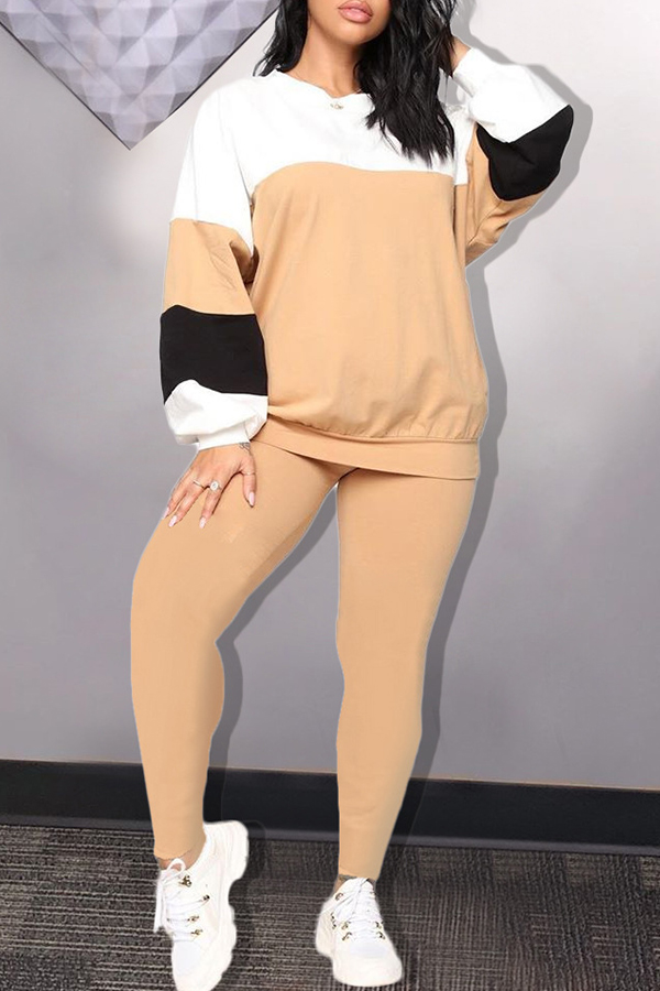 Lovely Casual Patchwork Khaki Two-piece Pants Set