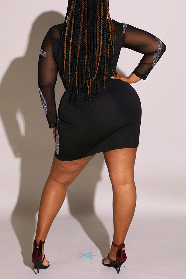 Lovely Sexy See-through Patchwork Black Mini Plus Size Dress
