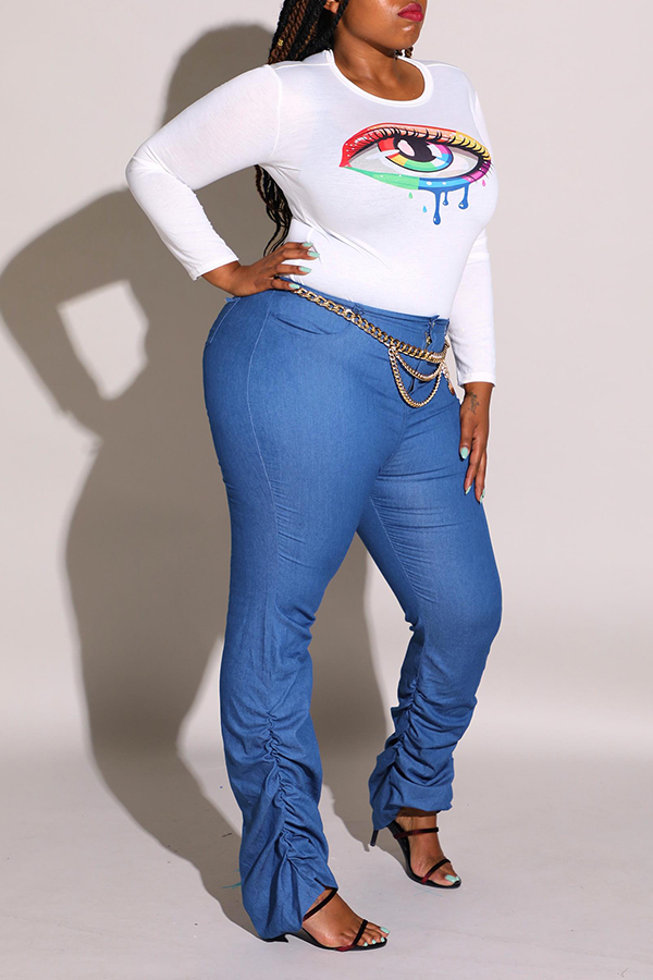 Lovely Casual Ruffle Design Blue Plus Size Jeans