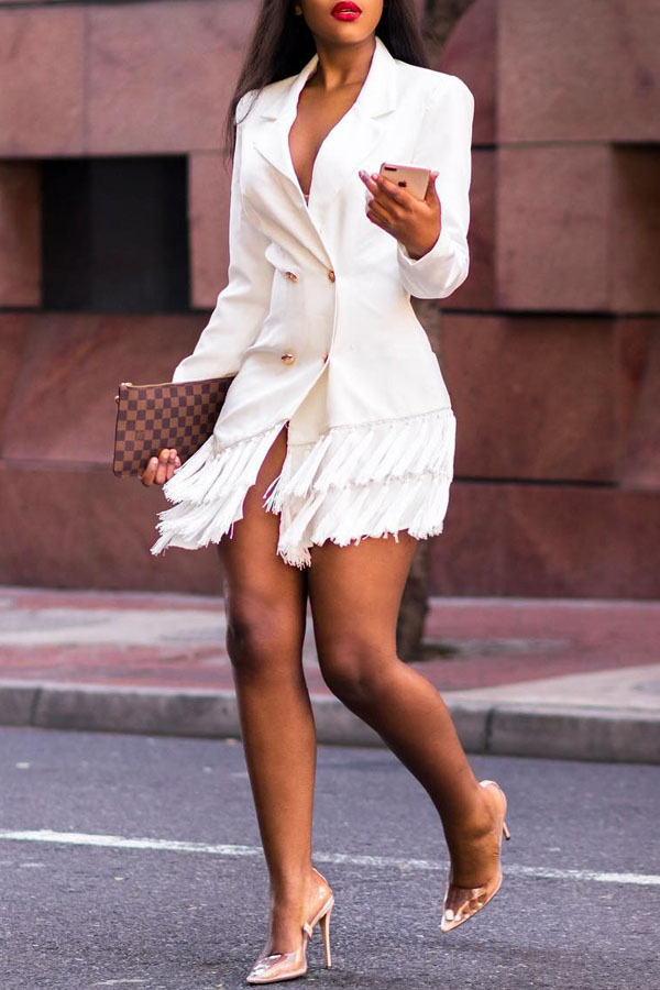 Lovely Trendy Flounce Patchwork White Mini Dress