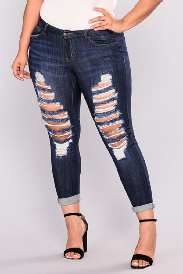 Lovely Denim Casual Solid Pants Regular Mid Yes(Elastic)  Plus Size Jeans