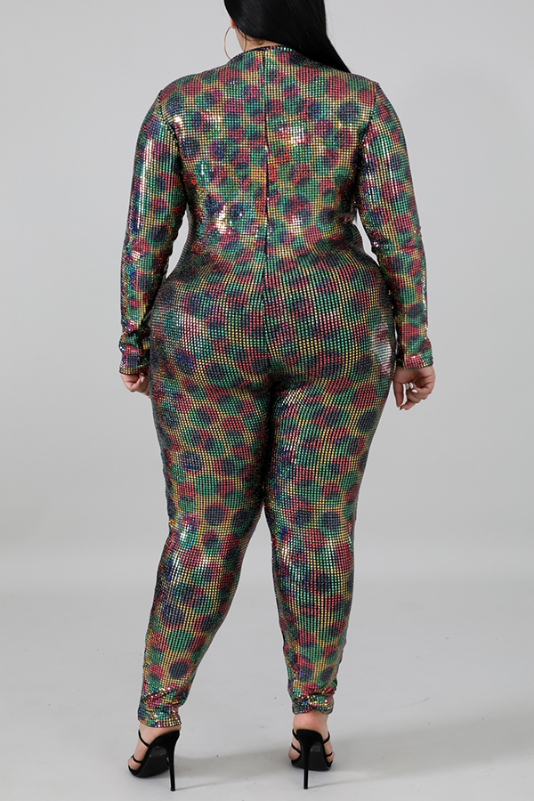 Lovely Casual Half A Turtleneck Multicolor Plus Size One-piece Jumpsuit