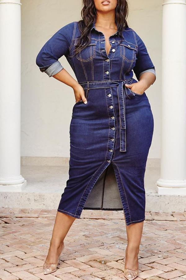 Lovely Casual Button Design Deep Blue Plus Size Mid Calf Dress