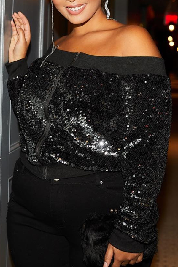 Lovely Casual Sequined Black Coat