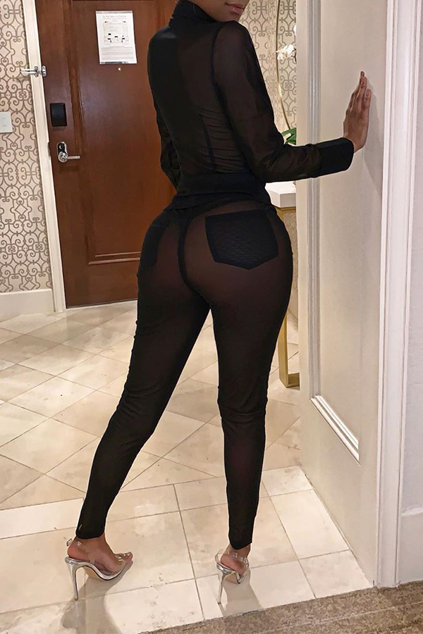 Lovely Sexy See-through Black Two-piece Pants Set