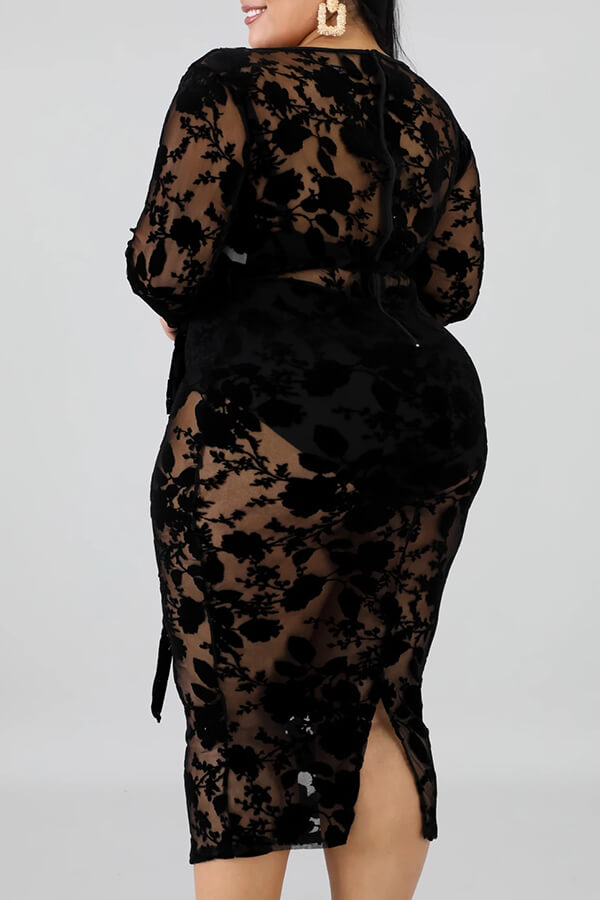 Lovely Sexy V Neck Hollow-out Black Mid Calf Plus Size Dress