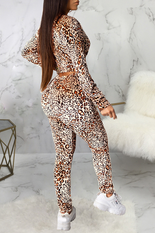 Lovely Casual Printed Brown Two-piece Pants Set