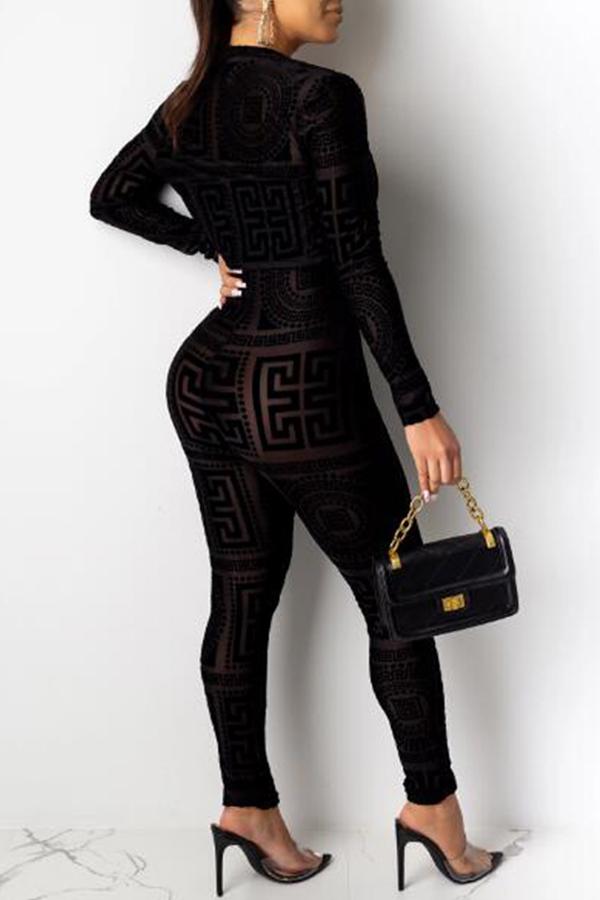 Lovely Sexy Skinny Black Two-piece Pants Set