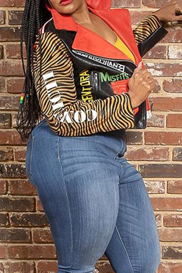 Lovely Trendy Turndown Collar Printed Multicolor Jacket