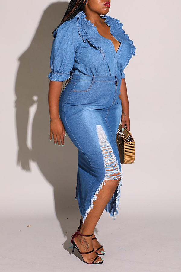 Lovely Sweet Flounce Design Blue Plus Size Blouse