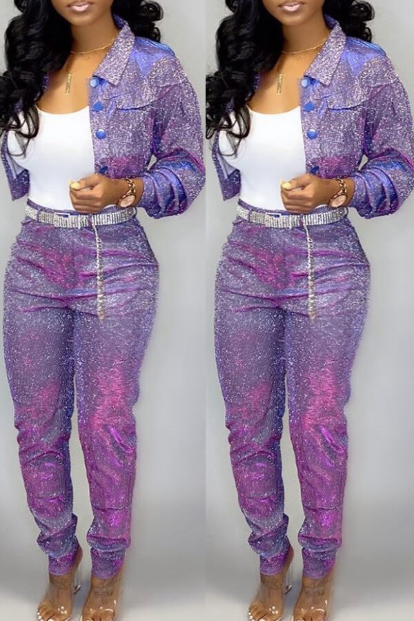 Lovely Casual Buttons Design Purple Two-piece Pants Set