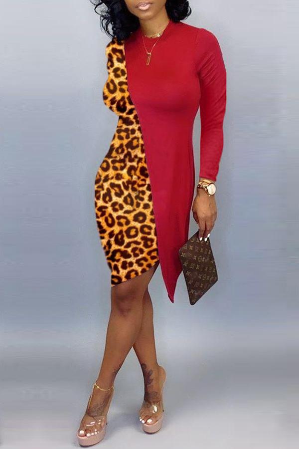 Lovely Casual Asymmetrical Leopard Red Knee Length Dress