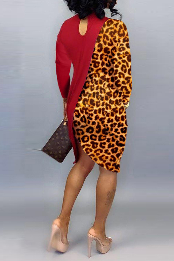 Lovely Casual Asymmetrical Leopard Red Knee Length Dress