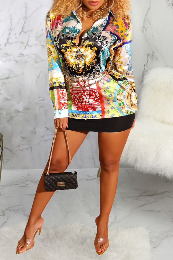 Lovely Casual Turndown Collar Printed Multicolor Blouse