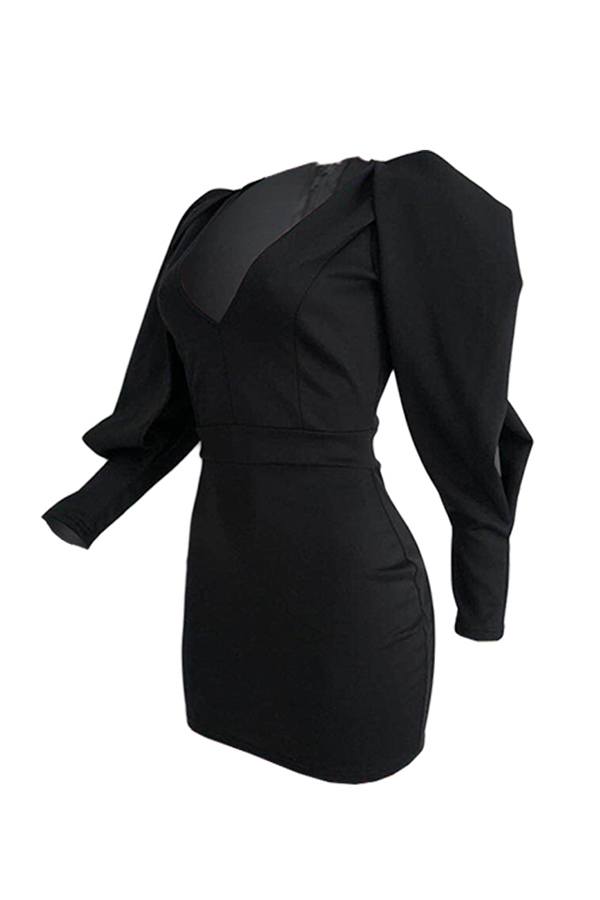 Lovely Temperament V Neck Black Mini Evening Dress