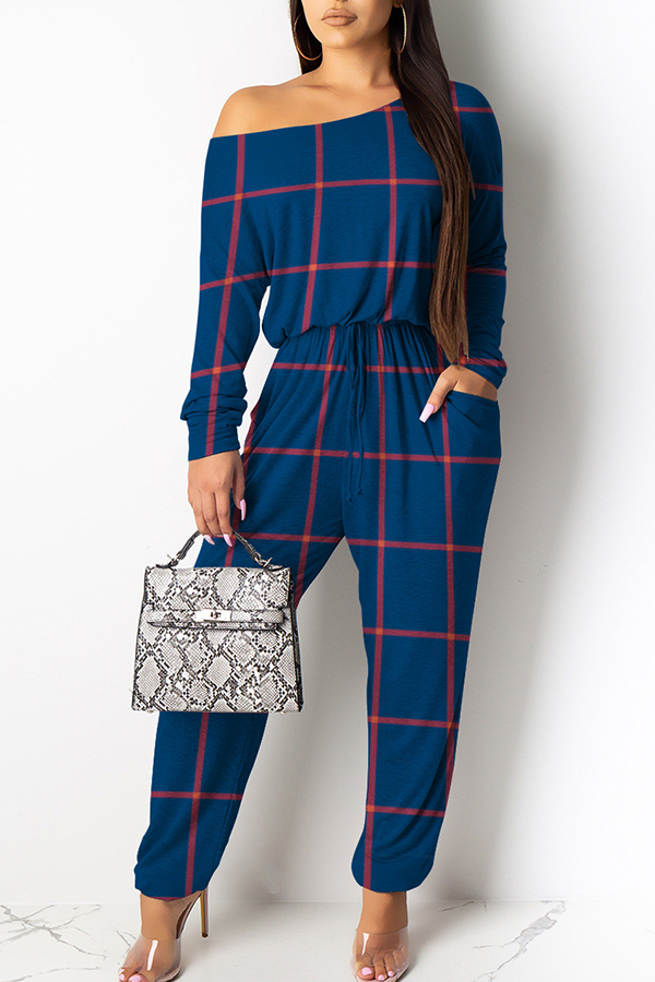 Lovely Casual Grid Printed Blue One-piece Jumpsuit