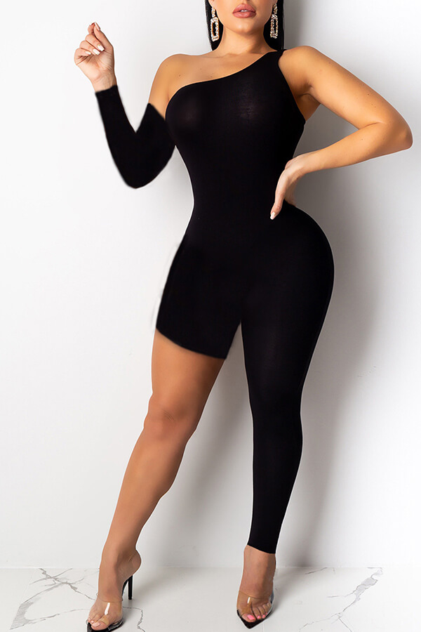 Lovely Trendy Asymmetrical Black One-piece Jumpsuit