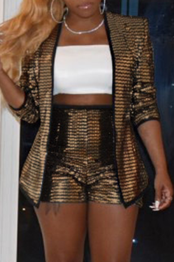 Lovely Casual Sequined Champagne Two-piece Shorts Set