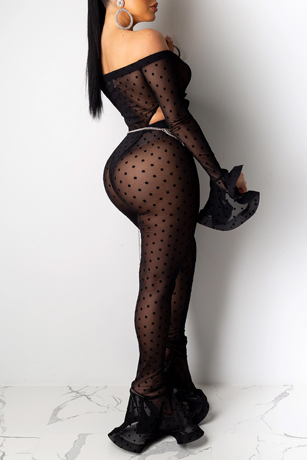 Lovely Sexy See-through Printed Black Two-piece Pants Set