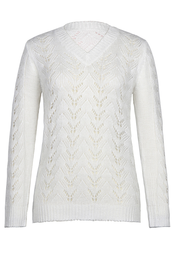 Lovely Trendy Hollowed-out White Sweater