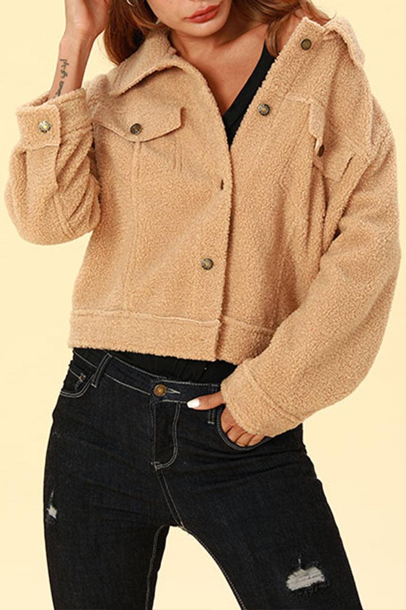 Lovely Chic Buttons Decorative Khaki Blended  Coat