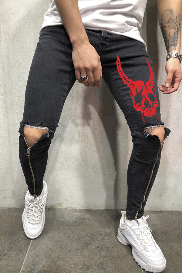 Lovely Street Zipper Design Black Jeans