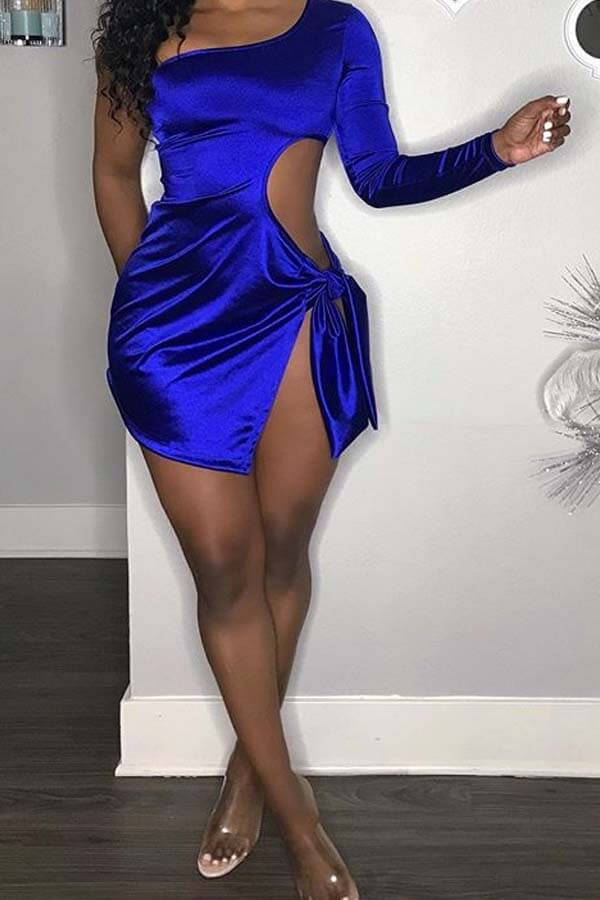 Lovely Chic One Shoulder Hollow-out Blue Mini Dress