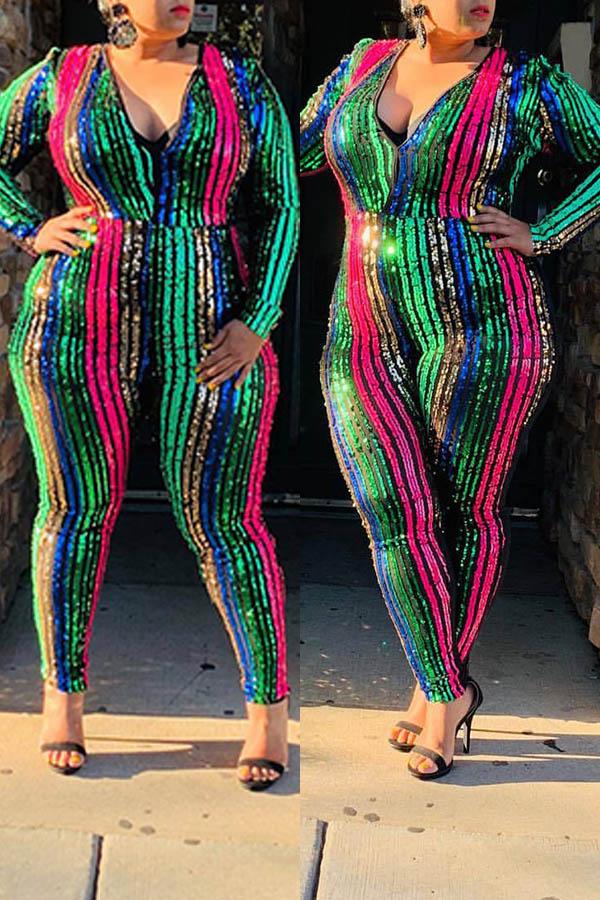 Lovely Trendy Deep V Neck Patchwork Multicolor Plus Size One-piece Jumpsuit