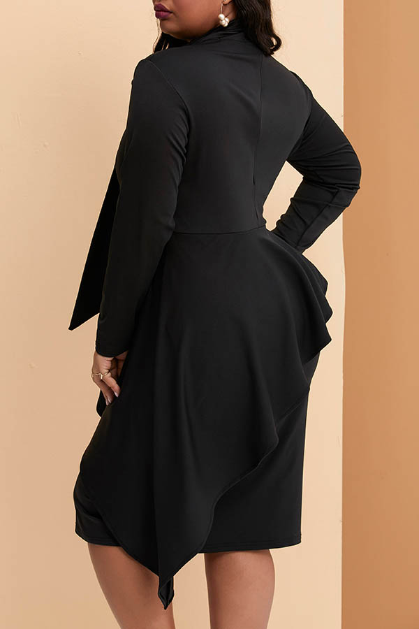 Lovely Casual Asymmetrical Black Mid Calf Plus Size Dress