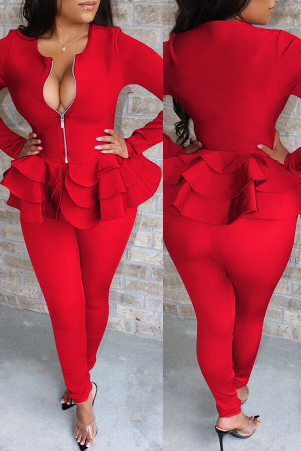 Lovely Casual Flounce Design Red Two-piece Pants Set