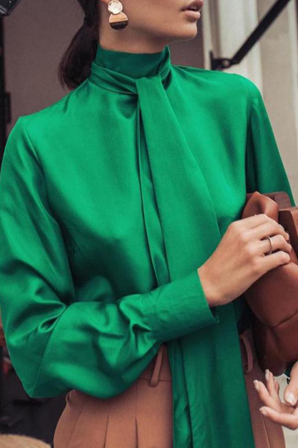 Lovely Leisure Turtleneck Green Blouse