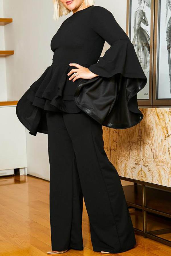 Lovely Casual Flounce Design Black Plus Size Two-piece Pants Set