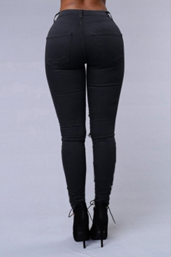 Lovely Trendy Broken Holes Black Pants