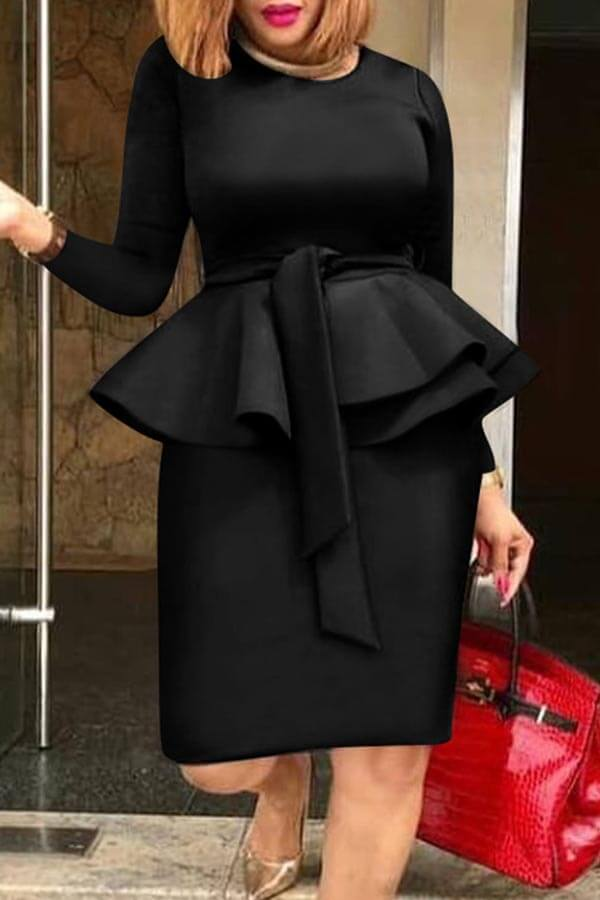 Lovely Sweet Flounce Black Knee Length Dress