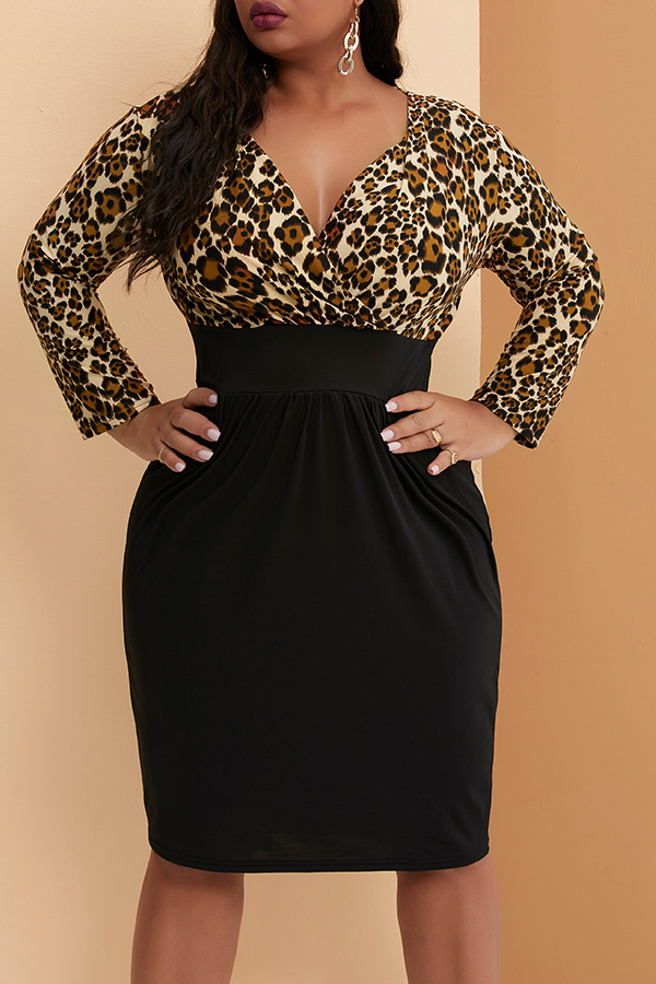 Lovely Casual Skinny Leopard Printed Knee Length Plus Size Dress