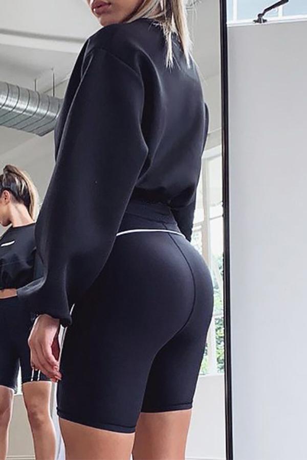 Lovely Casual Drawstring Black Sweatshirt Hoodie